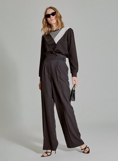 People By Fabrika Yüksek Bel Geniş Paçalı Pantolon Siyah